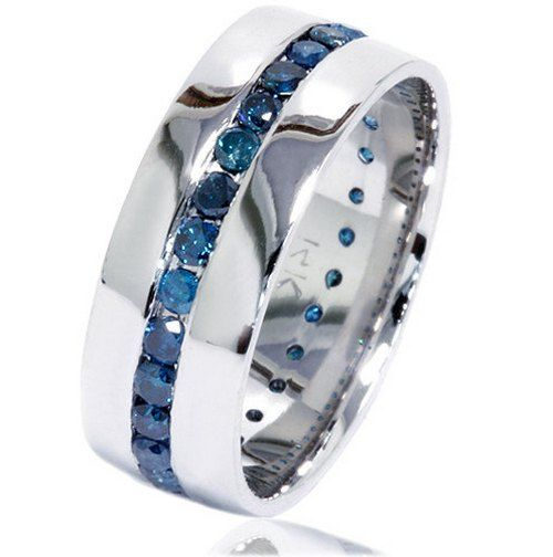 Mens wedding bands with blue diamonds wedding rings for Mens wedding ring with blue diamonds