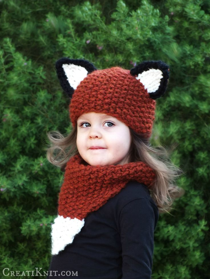 Knitting Pattern For Child s Fox Hat : FOX HAT Knitting Pattern - Fox Cowl Knit Pdf Pattern - Fox Clothing