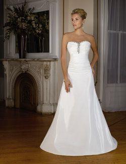 Simple strapless wedding dress.