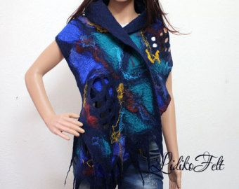 Women Nuno Felted Silk Scarf Shawl Wrap BLUE SUMMER    Enchanting airy scarf, hand felted of natural silk fabric fused with very thin layers of extra fine merino wool. Decorated flowers, glittering mulberry silk accents and sparkle hints in snow white, blue and turquoise add fresh inspiration and unique feeling of wild summer.    The scarf measures approx. L 195 cm x W 45 cm (76.8 in x 17.7 in) without fringes.    Wonderfully soft, light, airy and delicate, durable and stylish, colored in…