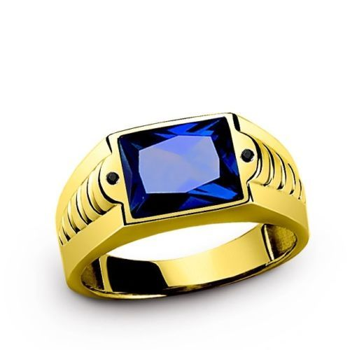 GENUINE Blue Sapphire 3.40CTW Gemstone in 10k SOLID Yellow Gold Men's Ring