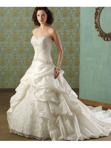 Taffeta Strapless Sweetheart Embroidered Bodice Wedding Dress