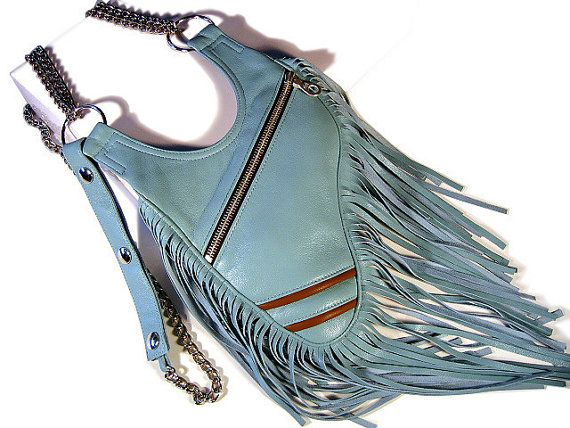 New collection  Holster with chain Halter from high-quality, genuine, super soft lamb nappa leather  Fig. color ice blue  The bag has two light brown piping as an ey... #holster #revolverbag