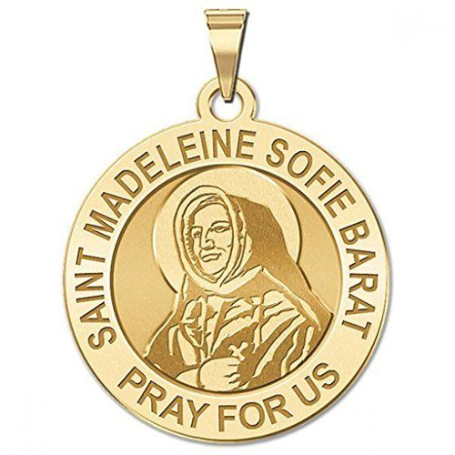 CHAIN IS NOT INCLUDED Available in Solid 14K Yellow or White Gold or Sterling Silver Size Reference: 17mm is the size of a US dime 19mm is the size of a US nickel 25mm is the size of a US quarter Saint Madeleine Sophie Barat is a French saint of the Catholic Church and was the founder of the Society of the Sacred Heart.  Features  Available in Solid 14K Yellow or White Gold or Sterling Silver  17mm  size of a US dime 19mm  size of a US nickel 25mm  size of a US quarter  Made in the USA  All…