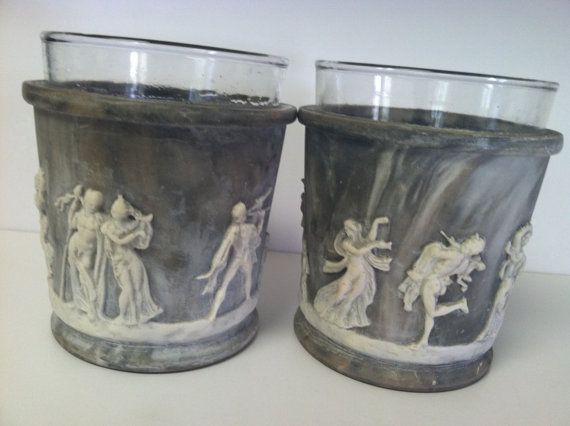 Genuine Vintage INCOLAY STONE Tumblers, set of 2,  gray/grey blue stone with white figures, limited edition reproduction on Etsy, $75.00