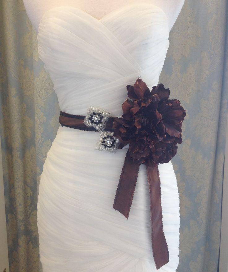 Copper/Bronze flower on matching taffeta tie sash with accent beading. Sale $30  reg $88