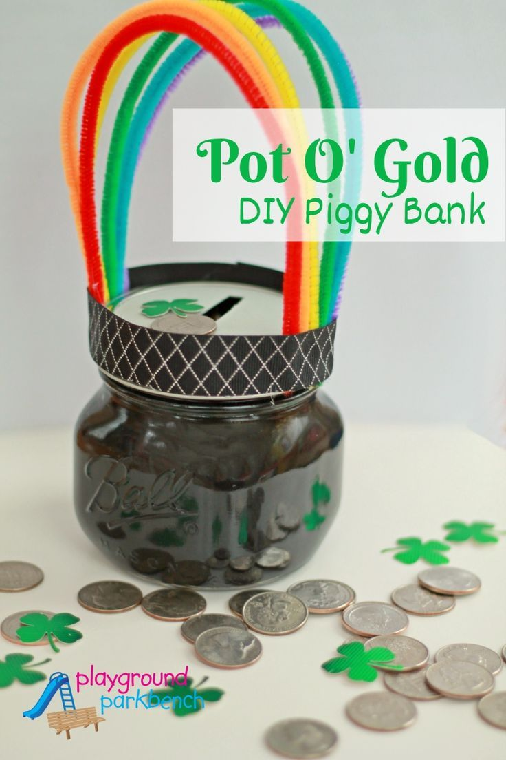 Encourage your child to make their own luck this St. Patrick's Day with this easy kid-made Pot O' Gold DIY Piggy Bank!  A simple craft for preschoolers and young children to teach them the importance of saving money, with a festive Irish twist