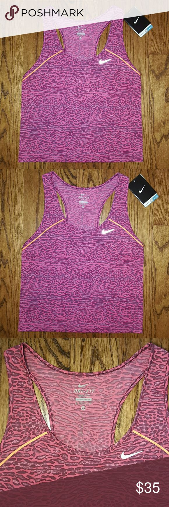 Nike Leopard Racing Crop Tank Nike Leopard Racing Crop Tank. Pink leopard print. Neon orange stripes. Reflective elements! Cropped! Size XS. New with tags! MSRP $55.00. Price is firm, not accepting offers! Nike Tops