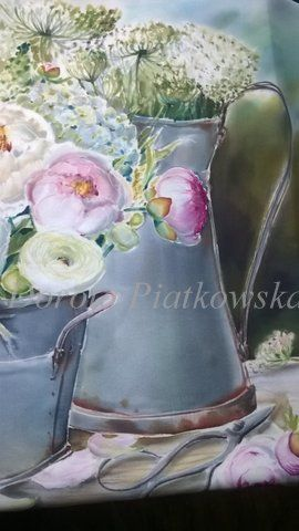 zinc, silk painting ,peony, Dorota Piątkowska