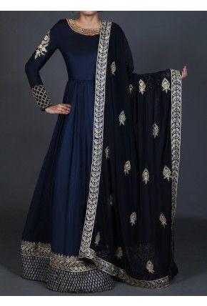 Lashkaraa Deep Blue Embroidered Anarkali
