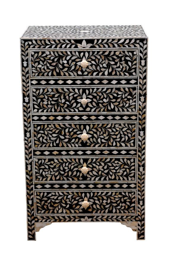 SALE-Mother of pearl inlay tall dresser, Black & White Inlaid Chest of…