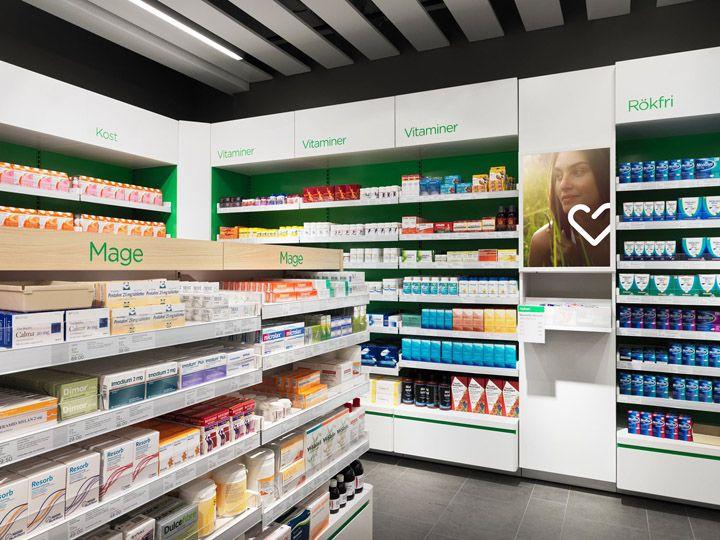 Pharmacy Design   Retail Design   Store Design   Pharmacy Shelving   Pharmacy Furniture   Apotek Hjärtat identity by BVD