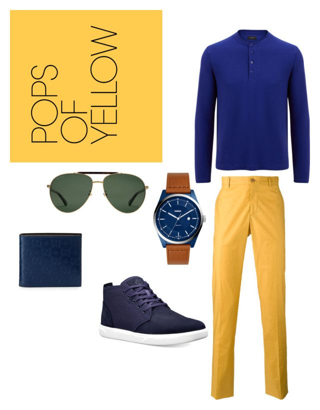 """""""men/semi formal/yellow"""" by shivsutradhar on Polyvore featuring Joseph, Etro, FOSSIL, Gucci, Timberland, men's fashion and menswear"""
