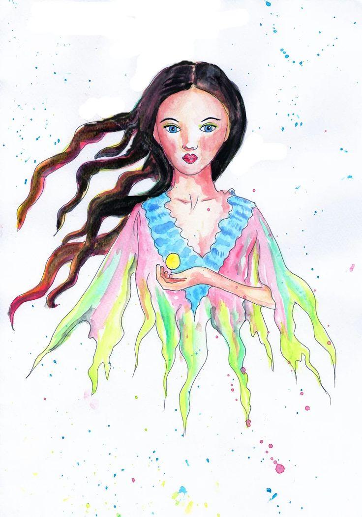 dziewczyna, ilustracja, bajkowa postać