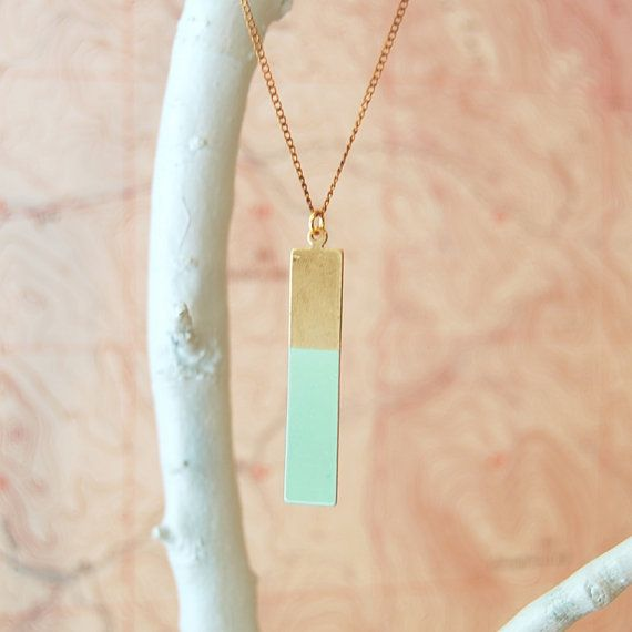 rectangle colourblock necklace in 'seafoam green' or 'softest pink' : son of a sailor