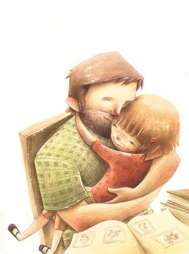 Sara Sanchez Illustration - sara sanchez, traditional, painting, painted, watercolour, acrylic, trade, commercial, picture book, people, children, man, men, dad, daddy, children, girls, family