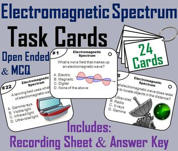 These task cards are a great way for students to improve their skills and knowledge of the electromagnetic spectrum.This product contains 24 cards with multiple choice questions about the electromagnetic spectrum. A recording sheet and an answer key are included.