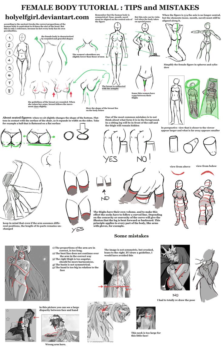Female body tips and mistakes to avoid by HolyElfGirl (http://holyelfgirl.deviantart.com/art/Female-body-tutorial-Tips-and-mistakes-431768852) ★    CHARACTER DESIGN REFERENCES   マンガの描き方 • Find more artworks at https://www.facebook.com/CharacterDesignReferences http://www.pinterest.com/characterdesigh and learn how to draw: #concept #art #animation #anime #comics    ★