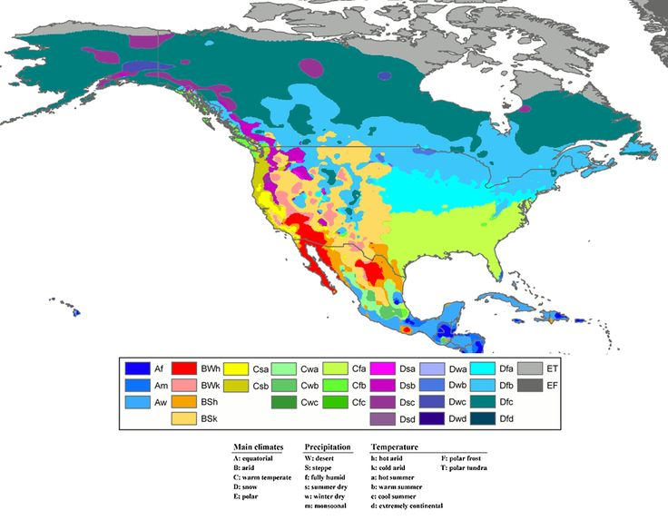 Climate Zones Of North America The Three Letter Names For Each Zone By Color On Map Describe The Latitude A Climate Zones Weather And Climate North America