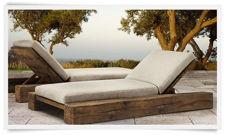 Aspen outdoor reclining chaises by restoration hardware for Build outdoor chaise lounge