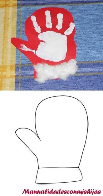 Manualidadescomishijas: Guante de invierno con huella de la mano y algodon. Molde Template winter glove