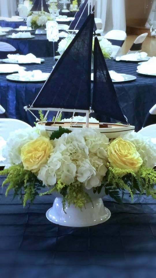 Blue-and-White-Nautical-Baby-Shower-Boat-Decor