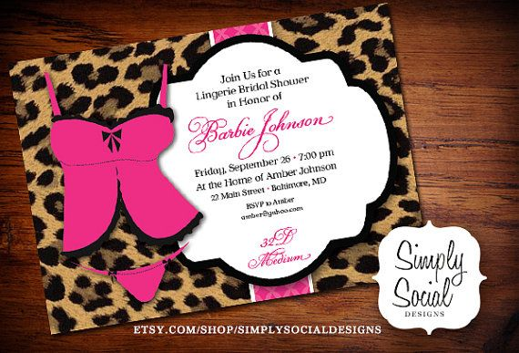 Lingerie Bridal Shower Invitation Hot Pink by SimplySocialDesigns