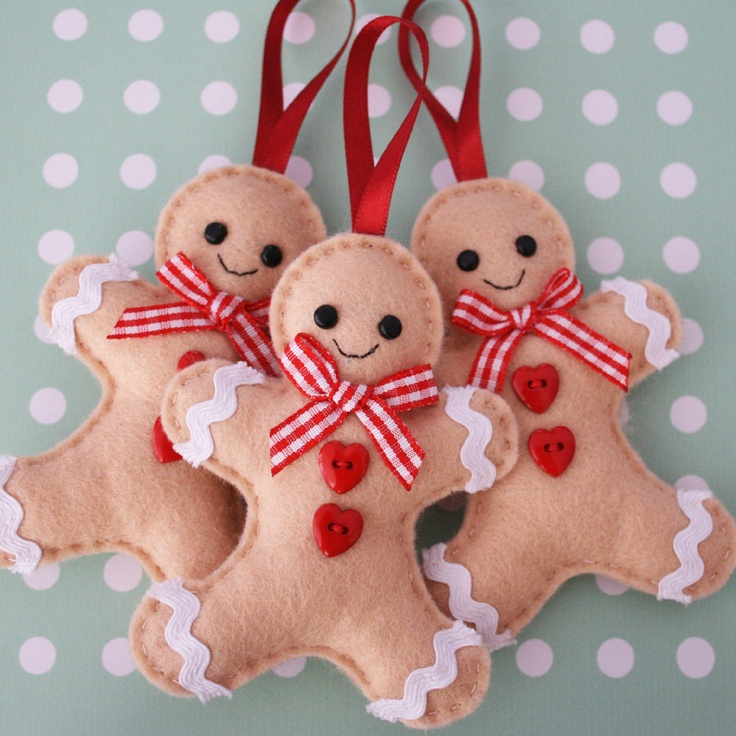 Gingerbread Man Felt Tree Ornaments--These remind me of some ornaments we had on our tree when I was little.