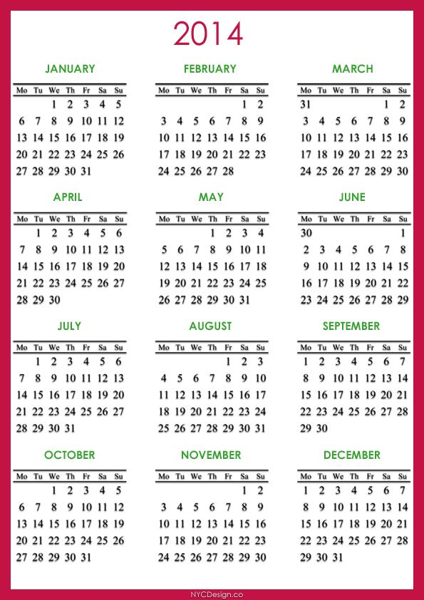 67 best printables images on pinterest free printables for 4 month calendar template 2014
