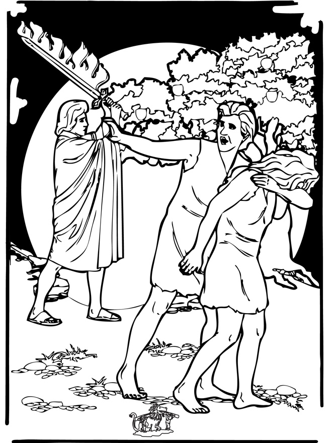 Adam And Eve Expelled From The Garden Of Eden Bible Coloring Page