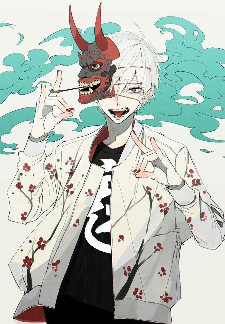 Oni Mask Boy art, Cute anime guys, Anime drawings