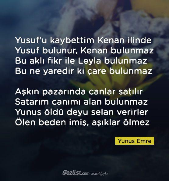 Yusuf'u kaybettim Kenan ilinde Yusuf bulunur, Kenan bulunmaz #yunus #emre #sözleri #kitap #yazar #şair #anlamlı #özlü #sözler