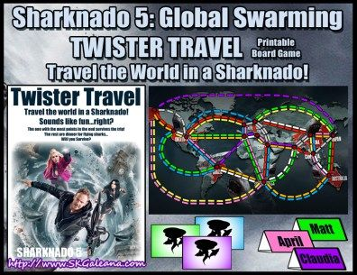 Sharknado 5: Global Swarming Party Printables Twister Travel Board Game (like Ticket to Ride)