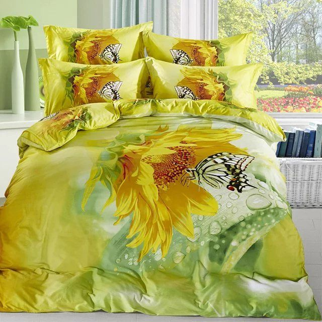 watercolor yellow sunflower and butterfly bedding set queen size cotton floral printed bed sheets duvet cover bed in a bag
