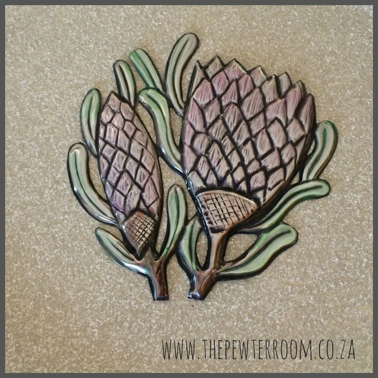 Painted, pewter embossed Proteas made by Lee @The Pewter Room