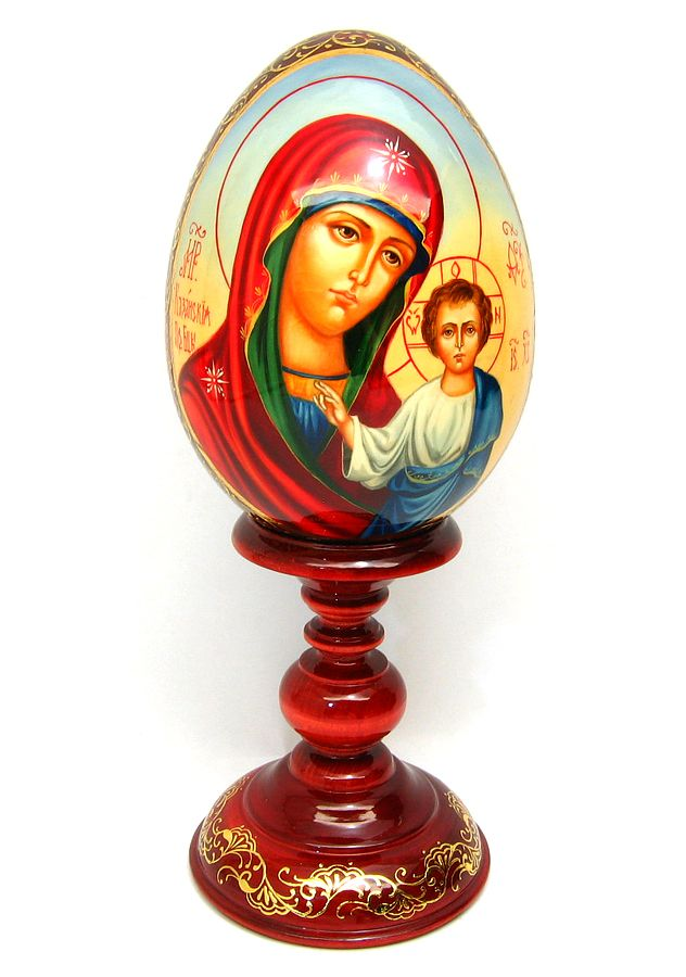 """Mother of God of Kazan""  Beautiful hand painted Russian icon eggs.   therussianshop.com"