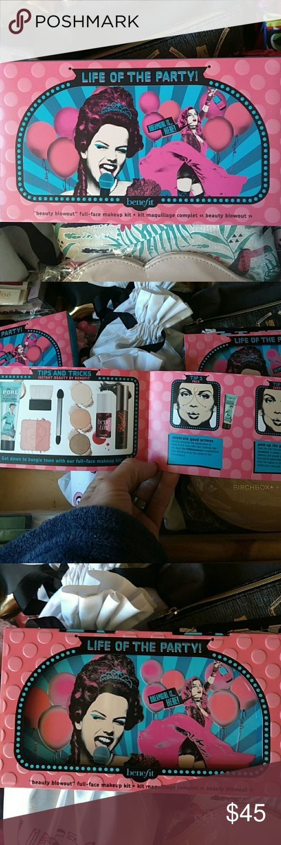 """Authentic benefit """" life of the party"""" kit Benefits Life of the Party kit the photos show everything that comes with this kit I never used it at all I purchased it and opened it and looked at it but I basically had everything that was in it already so I never used it, it's an adorable set and it comes in a beautiful metal collectible box and it also comes with a little booklet with tips and directions on how to use everything in the kit and its in the box it came in. Benefit Makeup"""