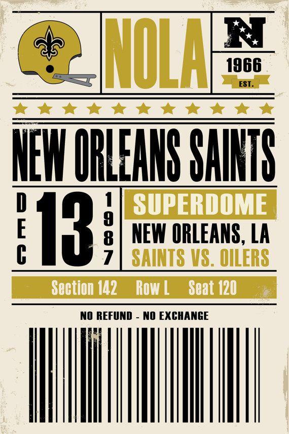 New Orleans Saints Retro Ticket Print