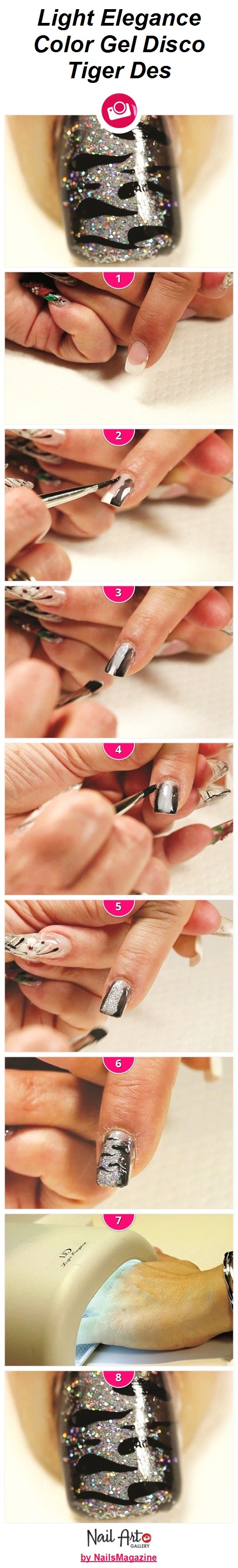 Light Elegance Color Gel Disco Tiger Des Nail Art How-To from Nail Art Gallery