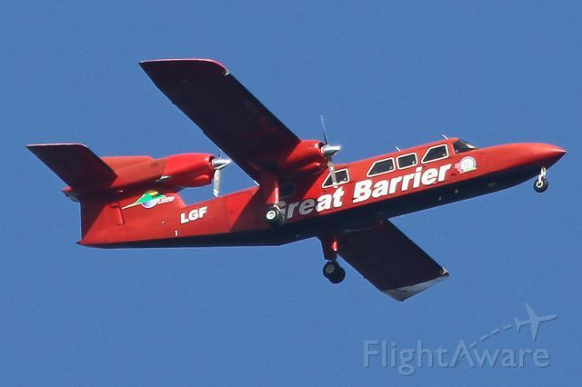 Britten-Norman BN-2A Mk3-2 Trislander (Great Barrier Airlines) flying over Auckland Bay in New Zealand on January 15, 2014.