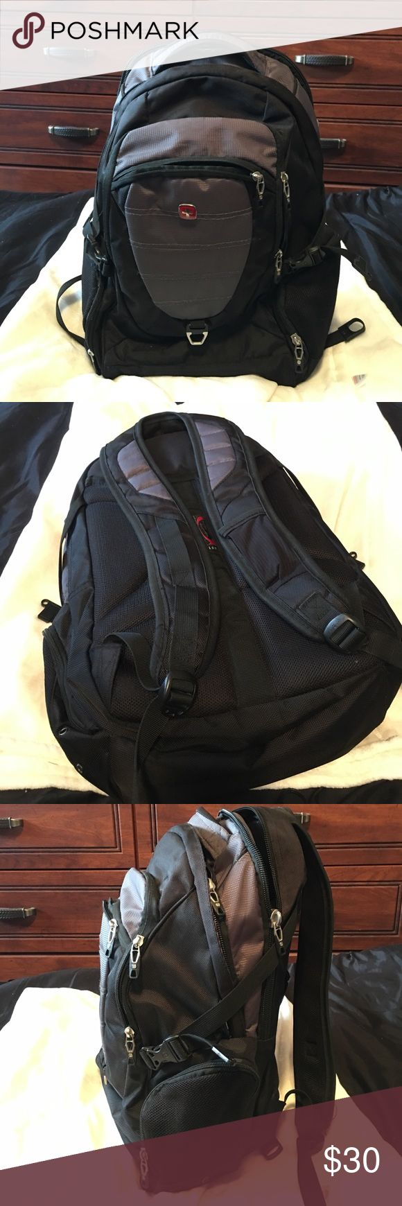 "Swiss Gear Laptop Backpack Black and grey multi-function backpack. Holds a 17"" laptop. Multiple pockets for lots of storage. There is a scratch on the logo embellishment on front of bag (shown in one of the pictures) but that's the only ""wear and tear"" on the entire bag. Great condition, used very minimally. SwissGear Bags Backpacks"