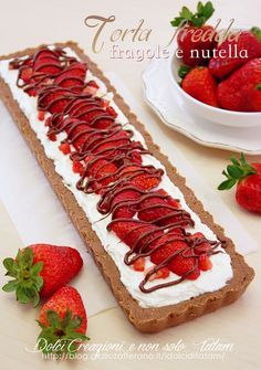 Torta fredda con fragole e nutella | senza cottura