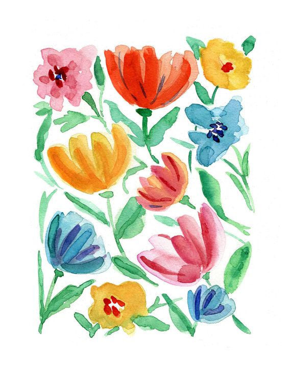 Abstract floral print of  watercolor painting by by TheJoyofColor, $21.00