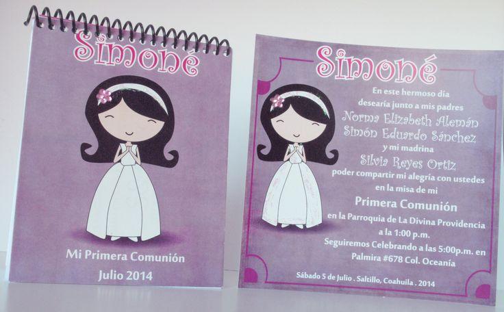 Invitación personalizada para Primera Comunión, con opción de libreta de recuerdo