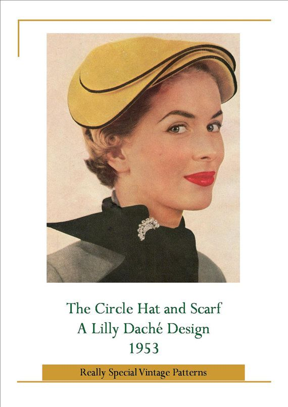 Vintage Hat Pattern Circle hat by Lilly Dache 1953 Sewing Pattern PDF Instant Download with Extra Info