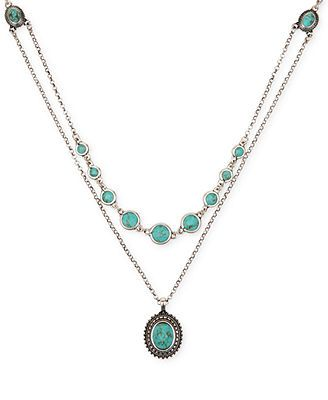 Lucky Brand Silver-Tone Layered Chain and Turquoise Accent Necklace