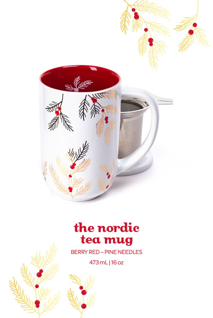 The Nordic Mug - Pine Needles. This festive bright red mug has a limited edition pine branch design and a stainless steel infuser.