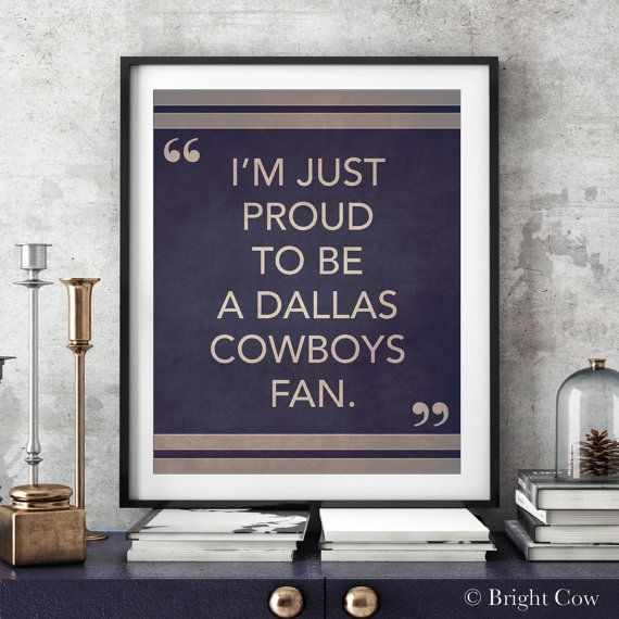 """I'M JUST PROUD TO BE A DALLAS COWBOYS FAN.""  This conceptual modern print will be a nice wall décor item for home & office and will also be a great gift item. ______________________________________________________________________________  *IT CAN TOTALLY BE CUSTOMIZED WITH YOUR OWN TEAM WITH YOUR TEAM COLORS.  HOW TO ORDER: Please add this item to your shopping cart and write me a note of the TEAM in the message to sellers box. When the work is complete, I will e-mail you a draft for…"