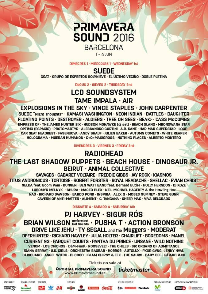 Primavera Sound in Barcelona, June 1-5, 2016. Who's performing: LCD Soundsystem, Cabaret Voltaire, Beach House, Beirut, Sigur Rós and more