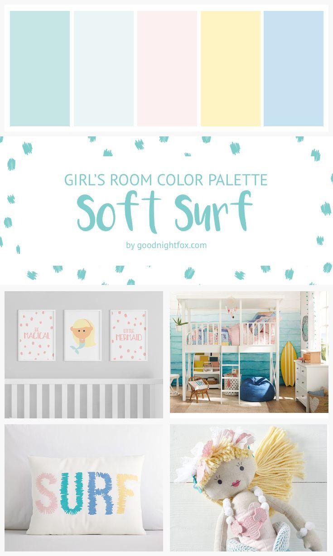 Girl S Room Soft Surf Color Palette Girls Room Colors Palette